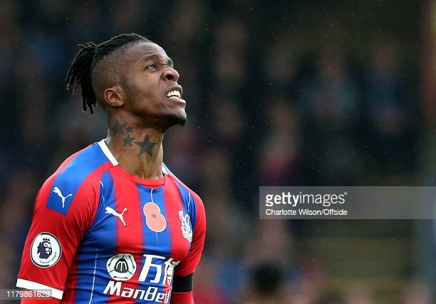A frustrated Wilfried Zaha of Palace during the Premier League match between Crystal Palace and Leicester City at Selhurst Park on November 3 2019 in...