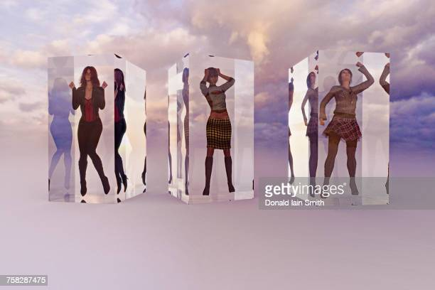 Frustrated women in suspended animation in clouds