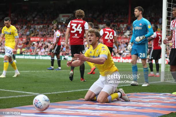 frustration for Patrick Bamford of Leeds as a decision goes against him during the Sky Bet Championship match between Brentford FC and Leeds United...