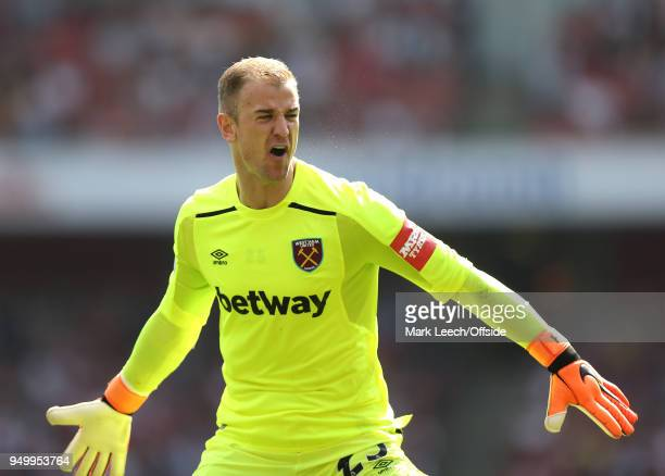 Frustration for West Ham goalkeeper Joe Hart during the Premier League match between Arsenal and West Ham United at Emirates Stadium on April 22 2018...