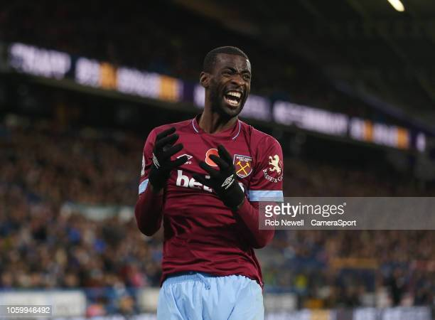Frustration for West Ham United's Pedro Obiang after a near miss during the Premier League match between Huddersfield Town and West Ham United at...