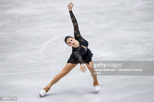Fruzsina Megdyesi of Hungary competes during the junior ladies free skating on day three of the ISU Junior Grand Prix of Figure Skating on September...