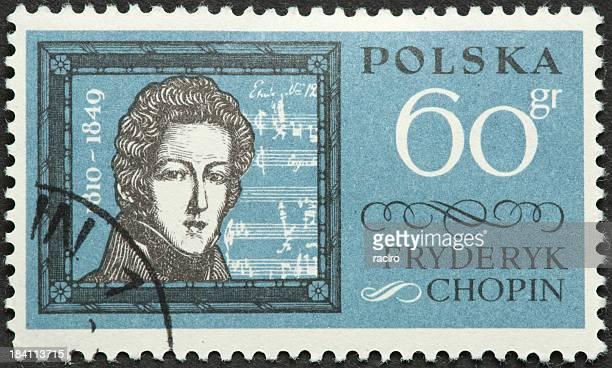 Fryderyk Chopin on an old Polish postage stamp
