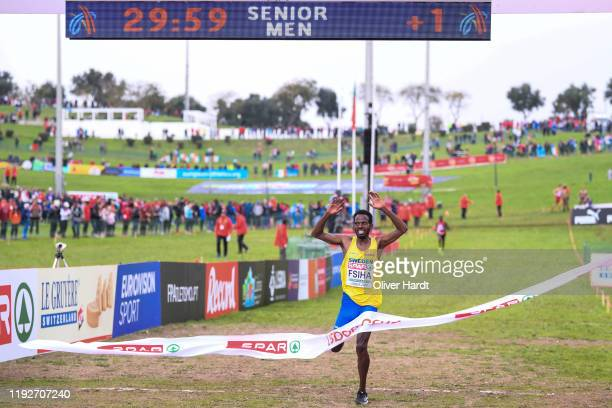Fsiha Robel of Sweden reacts after the Senior Men's race of the SPAR European Cross Country Championships at the Parque da Bela Vista on December 08...