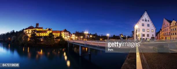 Füssen city panorama blue hour (Bavaria, Germany)
