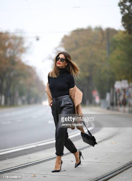 Füsun Lindner wearing a Wolford turleneck, Belstaff leather pants. Dior bag, Louboutin heels and a Celine sunglass on October 13, 2019 in Vienna,...