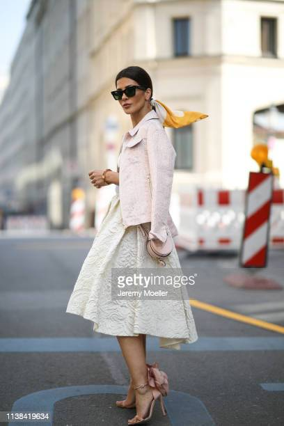 Füsun Lindner wearing Irene Luft jacket and skirt Falconeri top Guiseppe Zanotti pumps Windsor bag and a Celine glasses on March 24 2019 in Munich...
