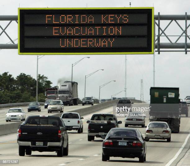 A sign over the Florida Turnpike warns of the mandatory evacuation of the Florida Keys 19 September 2005 in Ft Lauderdale Florida Authorities 19...