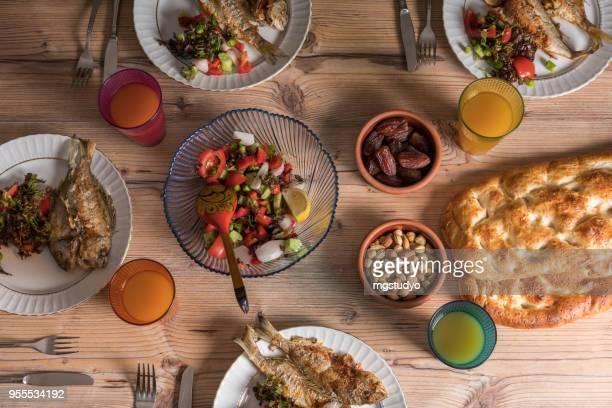 i̇ftar meal in ramadan - ramadan stock pictures, royalty-free photos & images