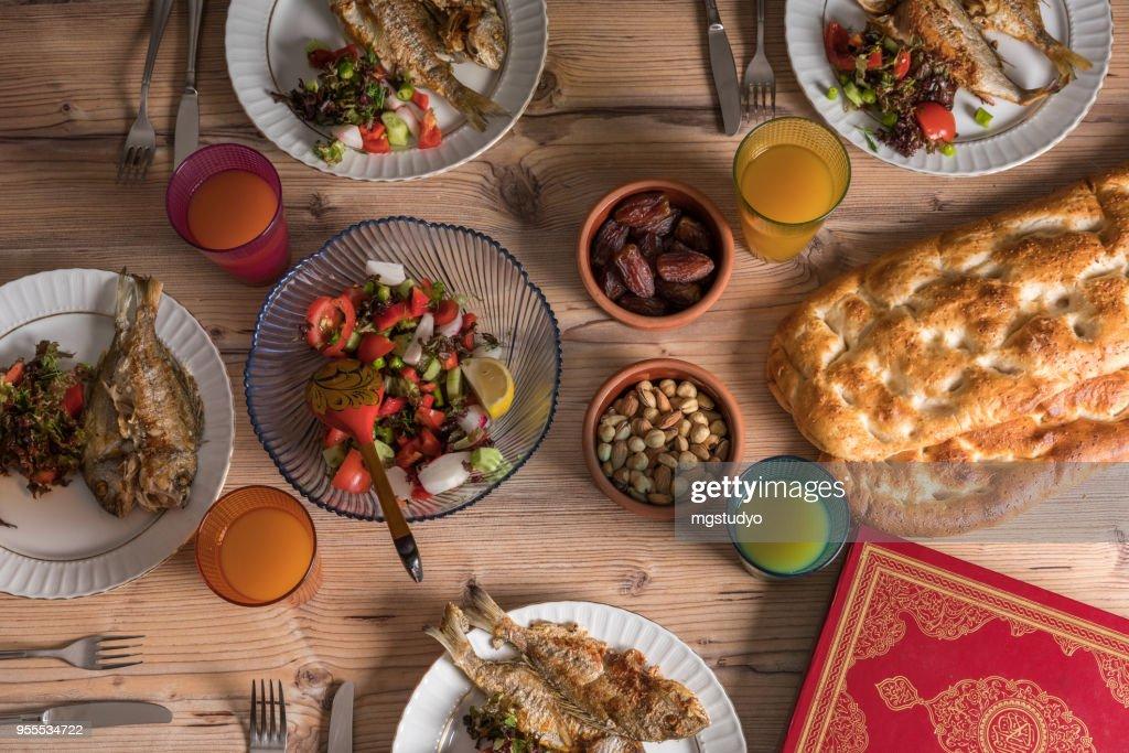İftar meal in Ramadan : Stock Photo