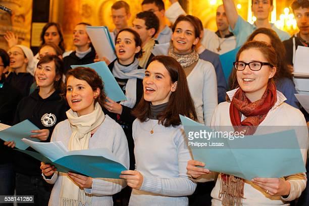 Fête des Lumières - Festival of Lights held in Lyon every year on december 8 - Choir in Notre Dame de Fourvière basilica