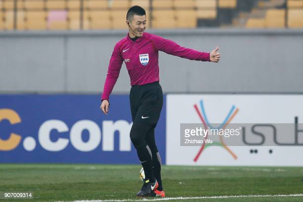 Fu Ming referee of China in action during AFC U23 Championship Quarterfinal between Japan and Uzbekistan at Jiangyin Sports Center on January 19 2018...