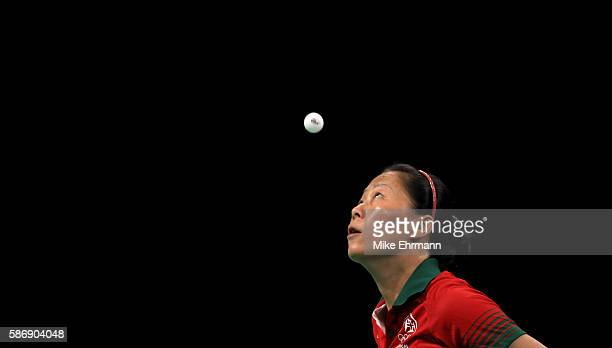 Fu Yu of Portugal plays a Women's Singles second round match against Nanthana Komwong of Thailand on Day 2 of the Rio 2016 Olympic Games at Riocentro...