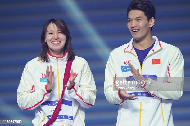 Fu Yuanhui and Xu Jiayu of China celebrates during the FINA Champions Swim Series - Guangzhou at Guangdong Olymipic Center on April 27, 2019 in...