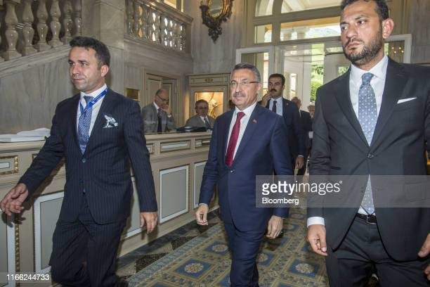 Fuat Oktay, Turkey's vice president, arrives at the AmbrosettiForum in Cernobbio, Italy, on Friday, Sept. 6, 2019. The 45th annual forum is titled...