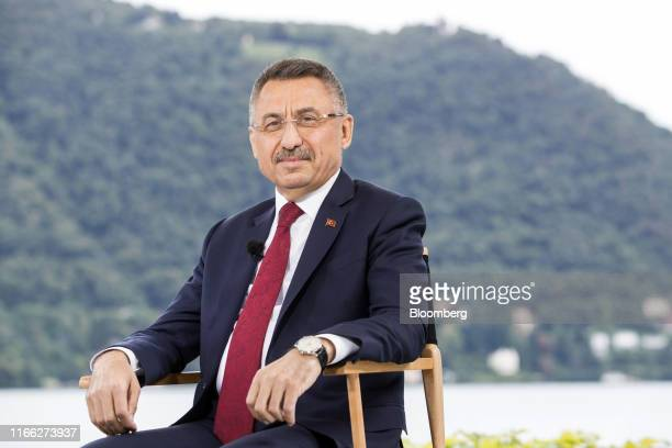 Fuat Oktay, Turkey's vice president, poses for a photograph ahead of a Bloomberg Television interview on the sidelines at the AmbrosettiForum in...