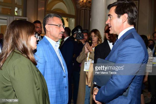 Fuat Oktay Vice President of Turkey, his daughter Fatma Zehra Oktay and Carlos Torres Vila CEO of Banco Bilbao Vizcaya Argentaria attend the...