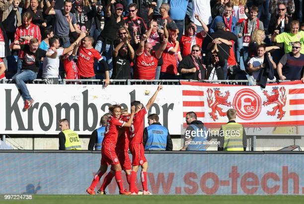 2 Bundesliga Arminia Bielefeld Duesseldorf's goal scorer Florian Neuhaus celebrates his 02 goal with Takashi Usami during the German 2nd division...