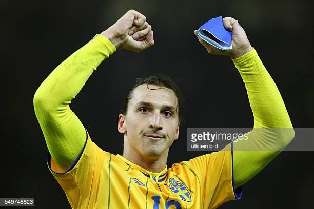 Fußball-Weltmeisterschaft Brasilien 2014, Qualifikation, Gruppe C - Zlatan Ibrahimovic, Freude, Emotion, jubelnd, Jubel nach Spielende , Sport,...