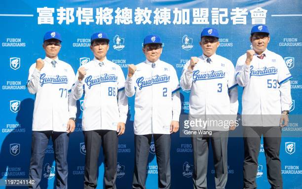 Fubon Guardians' new coaching team FengPin Hsu ChienLin Kuo manager IChung Hong ChienLin Wu and KanLin Huang pose during the Fubon Guardians Team...