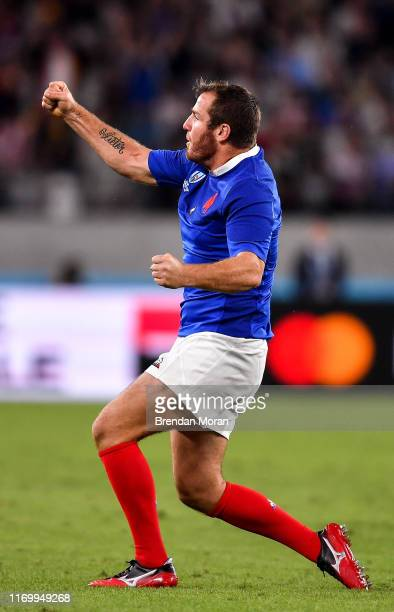 Fuchu Japan 21 September 2019 Camille Lopez of France celebrates at the final whistle during the 2019 Rugby World Cup Pool C match between France and...