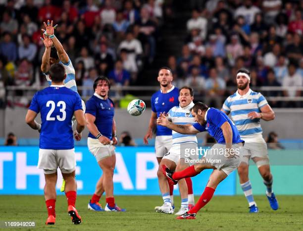 Fuchu Japan 21 September 2019 Camille Lopez scores a drop goal for France during the 2019 Rugby World Cup Pool C match between France and Argentina...