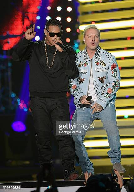 Fuego and J Balvin perform onstage at the Billboard Latin Music Awards at Bank United Center on April 28 2016 in Miami Florida