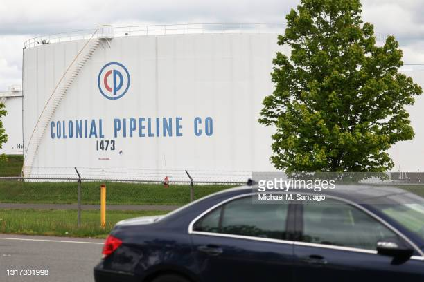 Fuel holding tanks are seen at Colonial Pipeline's Linden Junction Tank Farm on May 10, 2021 in Woodbridge, New Jersey. Alpharetta, Georgia-based...