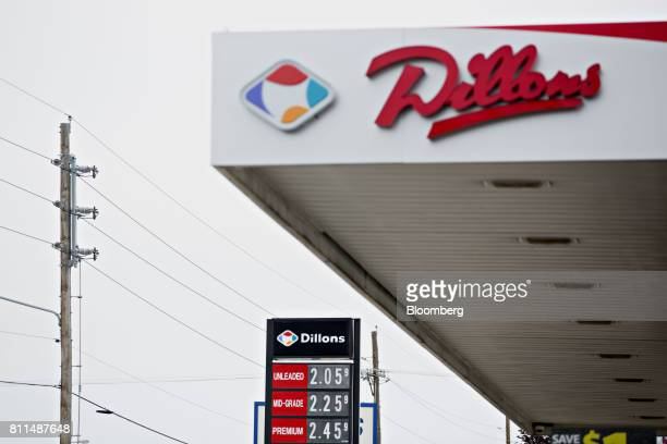 Fuel prices are displayed at a Dillons Food Stores gas station owned by Kroger Co in Hays Kansas US on Thursday June 29 2017 Kroger remains committed...