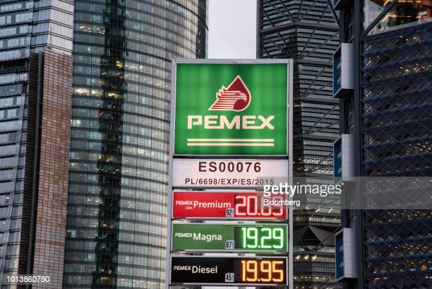 Fuel prices are displayed at a Petroleos Mexicanos gas station in Mexico City Mexico on Monday Aug 6 2018 Mexico's incoming president named a new...