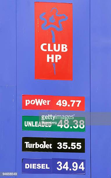 Fuel prices are displayed in Indian rupees at a gas station in Mumbai India on Thursday Nov 29 2007 India's economy grew last quarter at the slowest...