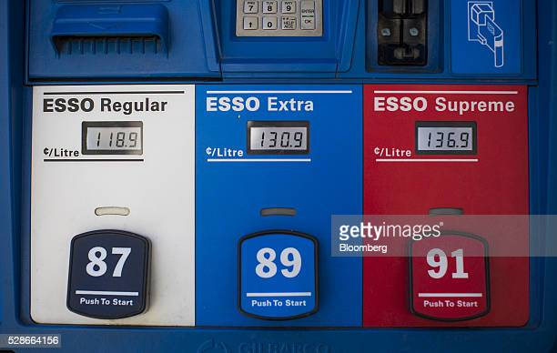Fuel prices are displayed on pumps at an Esso gas station in Vancouver British Columbia Canada on Friday May 6 2016 The worst wildfire in Alberta...