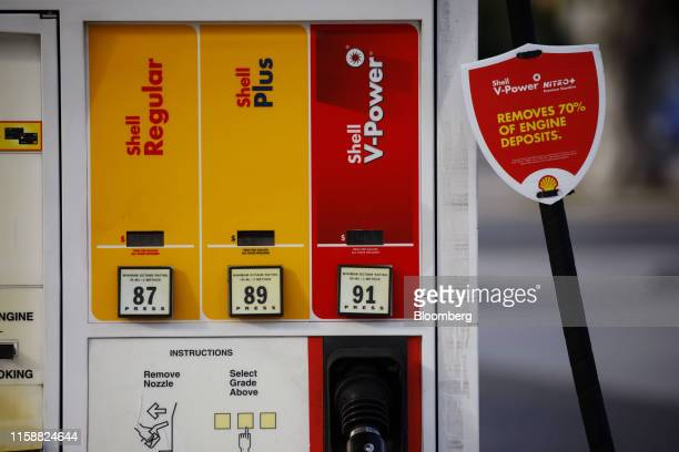 A fuel pump stands at a Royal Dutch Shell Plc gas station in Redondo Beach California US on Sunday July 28 2019 Royal Dutch Shell is scheduled to...