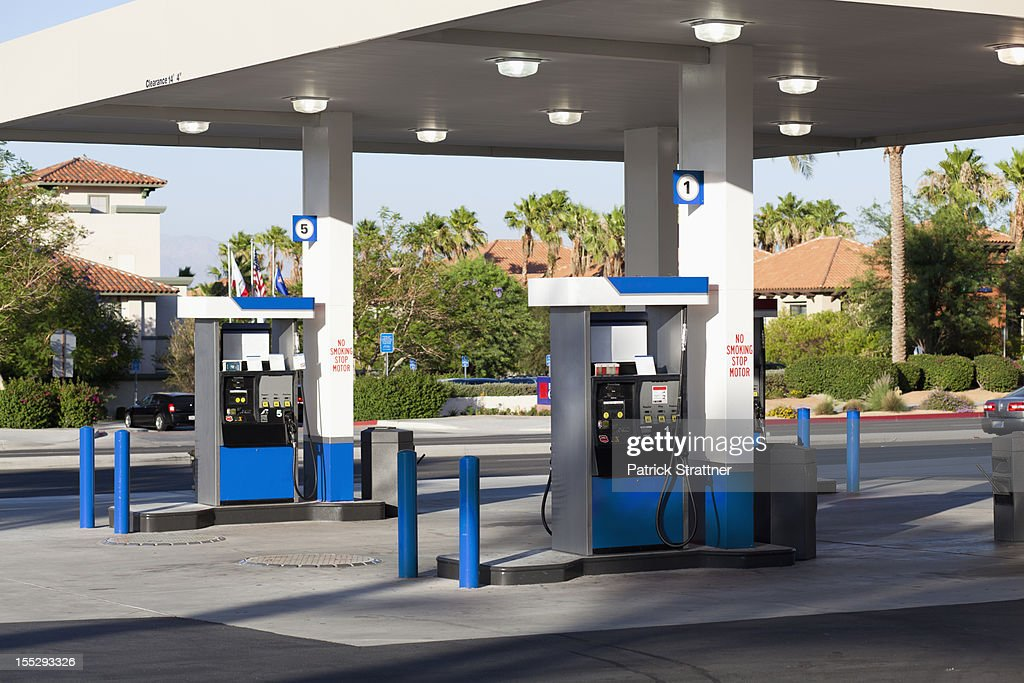 Fuel pumps at a gas station : Stock-Foto