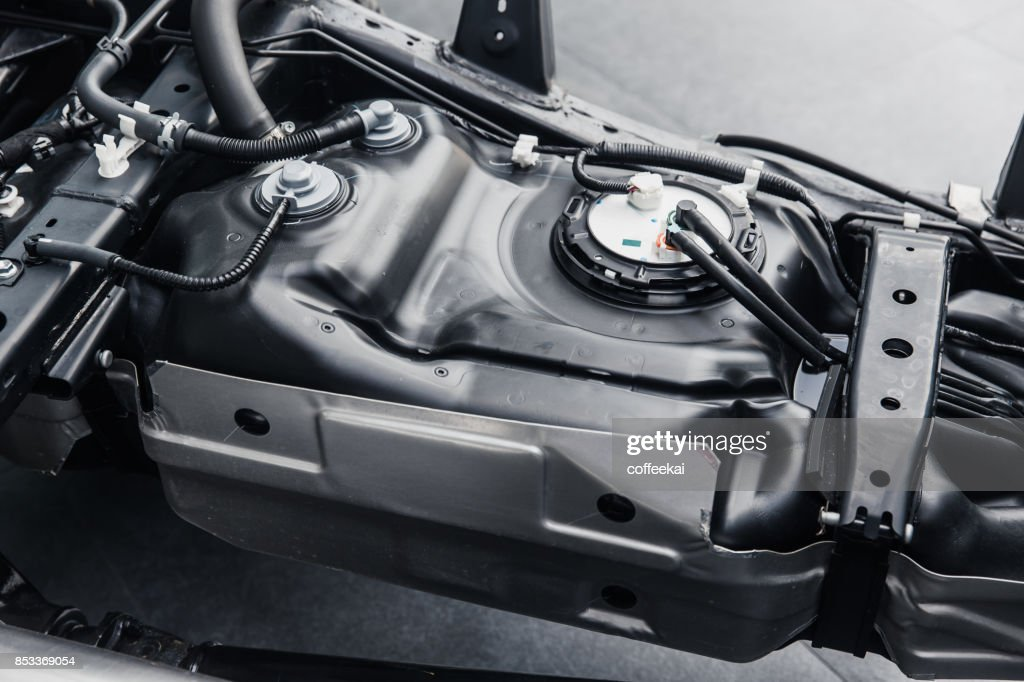 fuel tank inside car chassis underbody clean new from factory : Stock Photo