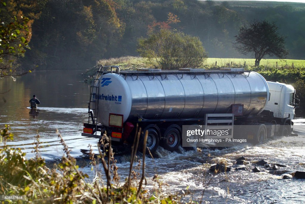 A Fuel Tanker Rests In The River Coquet Near Warkworth In Northumberland  After The Driver Took