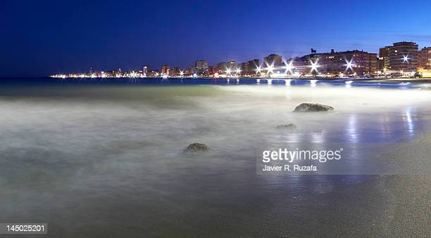 fuengirola at night - fuengirola stock photos and pictures