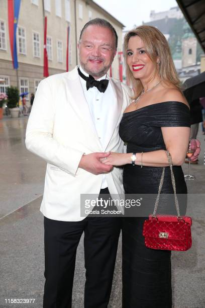 Fuerst Alexander zu SchaumburgLippe and his partner Mahkameh Navabiat the premiere of Adriana Lecouvreur during the Salzburg Opera Festival 2019 at...