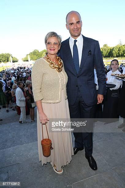 Fuerstin Gloria von Thurn und Taxis and her son Prince Albert von Thurn und Taxis during the Summer Reception of the Bavarian State Parliament at...