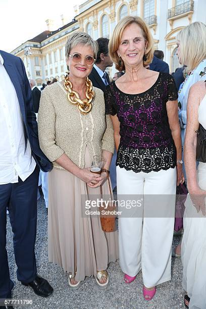 Fuerstin Gloria von Thurn und Taxis and Karin Seehofer during the Summer Reception of the Bavarian State Parliament at Schleissheim Palace on July 19...
