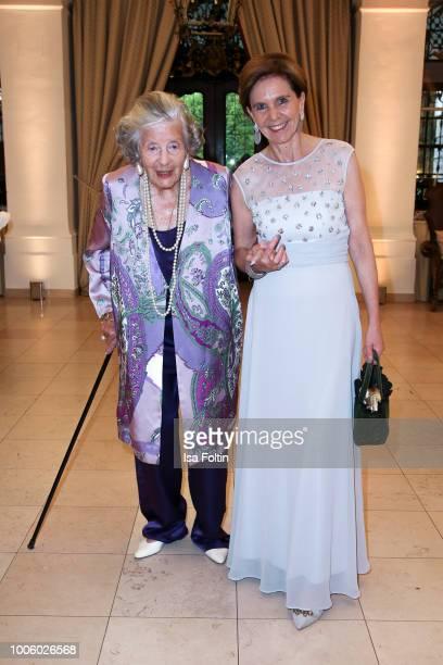Fuerstin 'Manni' Marianne SaynWittgensteinSayn and Austrian politician Brigitta Pallauf during the ISA gala at Schloss Leopoldskron on July 26 2018...