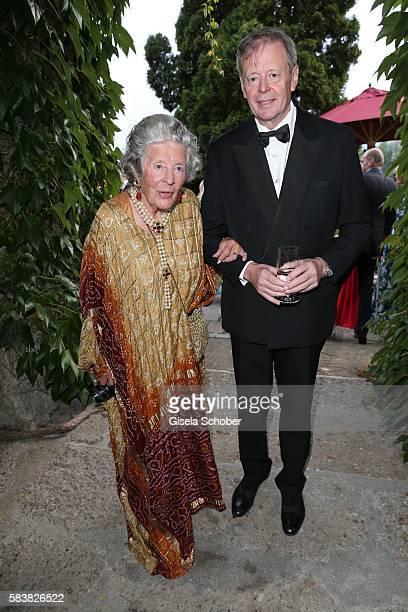 Fuerstin 'Manni' Marianne Sayn-Wittgenstein-Sayn, Sayn-Wittgenstein, and her son prince Peter zu Sayn-Wittgenstein during the ISA gala at Schloss...