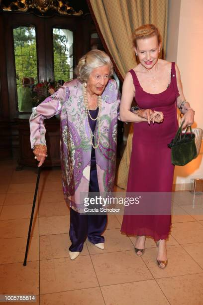 Fuerstin Marianne Manni zu SaynWittgensteinSayn and her daughter in law Sunnyi Melles during the ISA gala at Schloss Leopoldskron on July 26 2018 in...