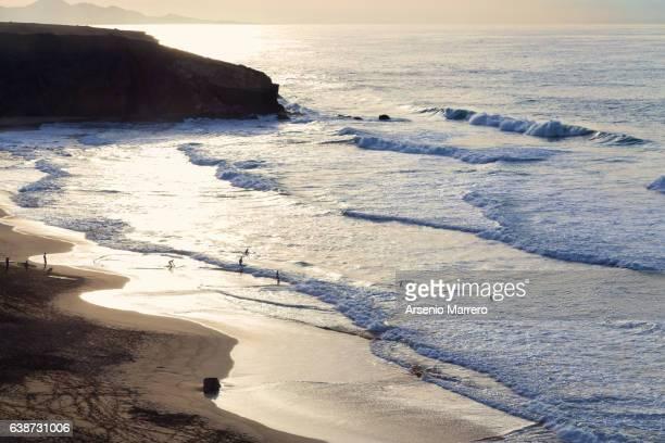 Fuerteventura beach in sunset