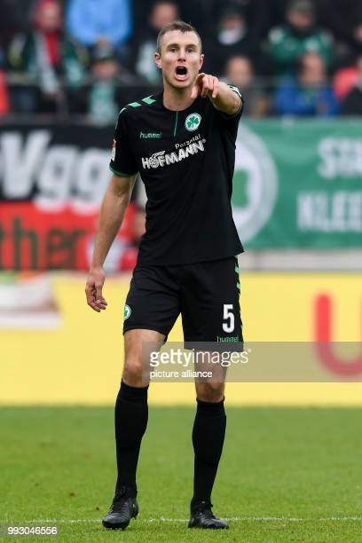 Fuerth's Richárd Magyar gives orders to his team during the German 2nd division Bundesliga soccer match between Jahn Regensburg and SpVgg Greuther...