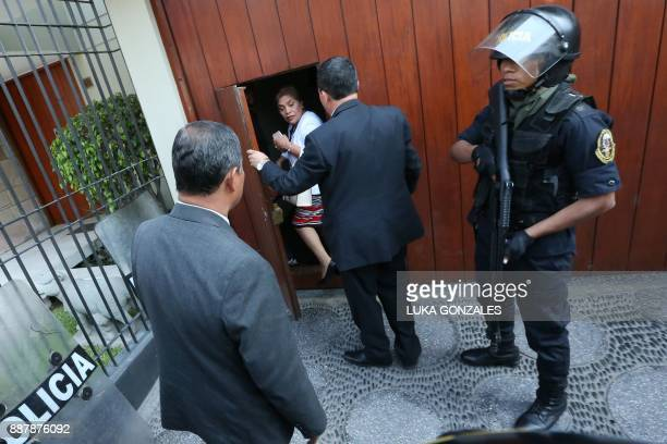Fuerza Popular congresswoman Luz Salgado shows up at the party's offices in Surco a district of Lima during a search by the public prosecutor's...