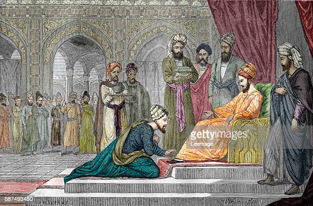 Fugitive persian polymath Avicenna just escaped from jail received by the emir of Isfahan 1021 Engraving from LaviedessavantsillustresauMoyenAge by...