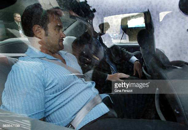Fugitive rapist Andrew Luster sits in an FBI vehicle after arriving at LAX in federal custody Thursday June 19 2003 Luster was caught Wednesday in...