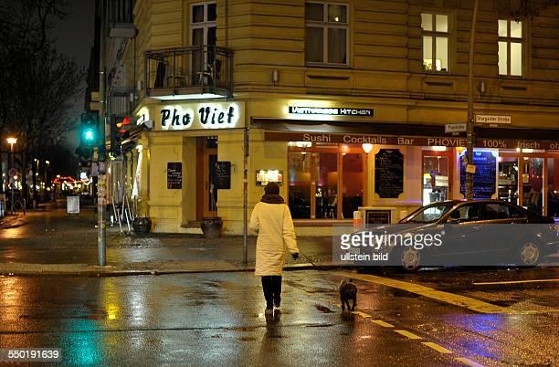 Fußgängerin überquert mit ihrem Hund die Stargarder Strasse in BerlinPrenzlauer Berg