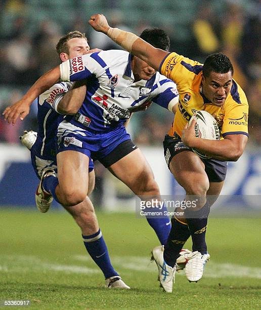 Fuifui Moimoi of the Eels in action during the round 23 NRL match between the Parramatta Eels and the Bulldogs at Parramatta Stadium August 12 2005...